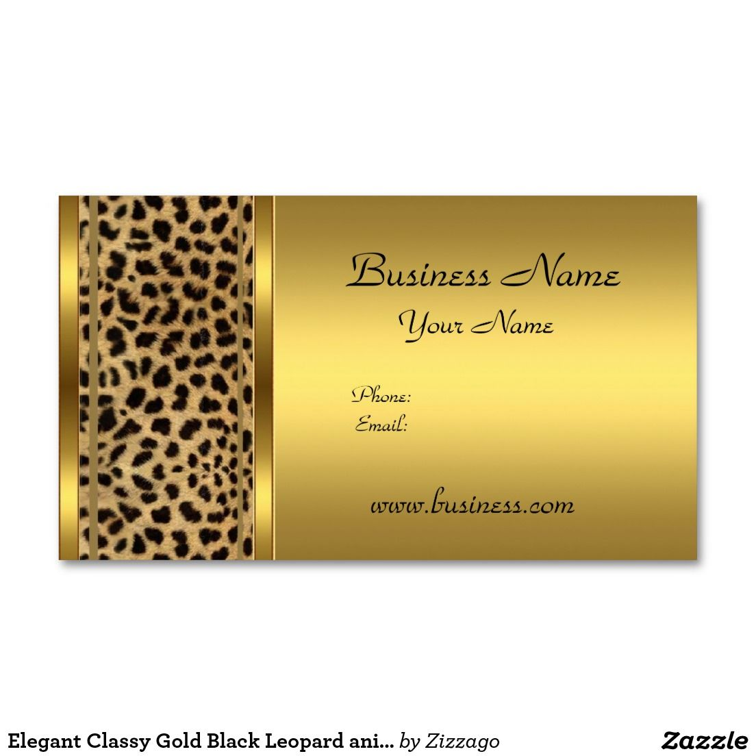 Elegant Classy Gold Black Leopard animal print Business Card ...