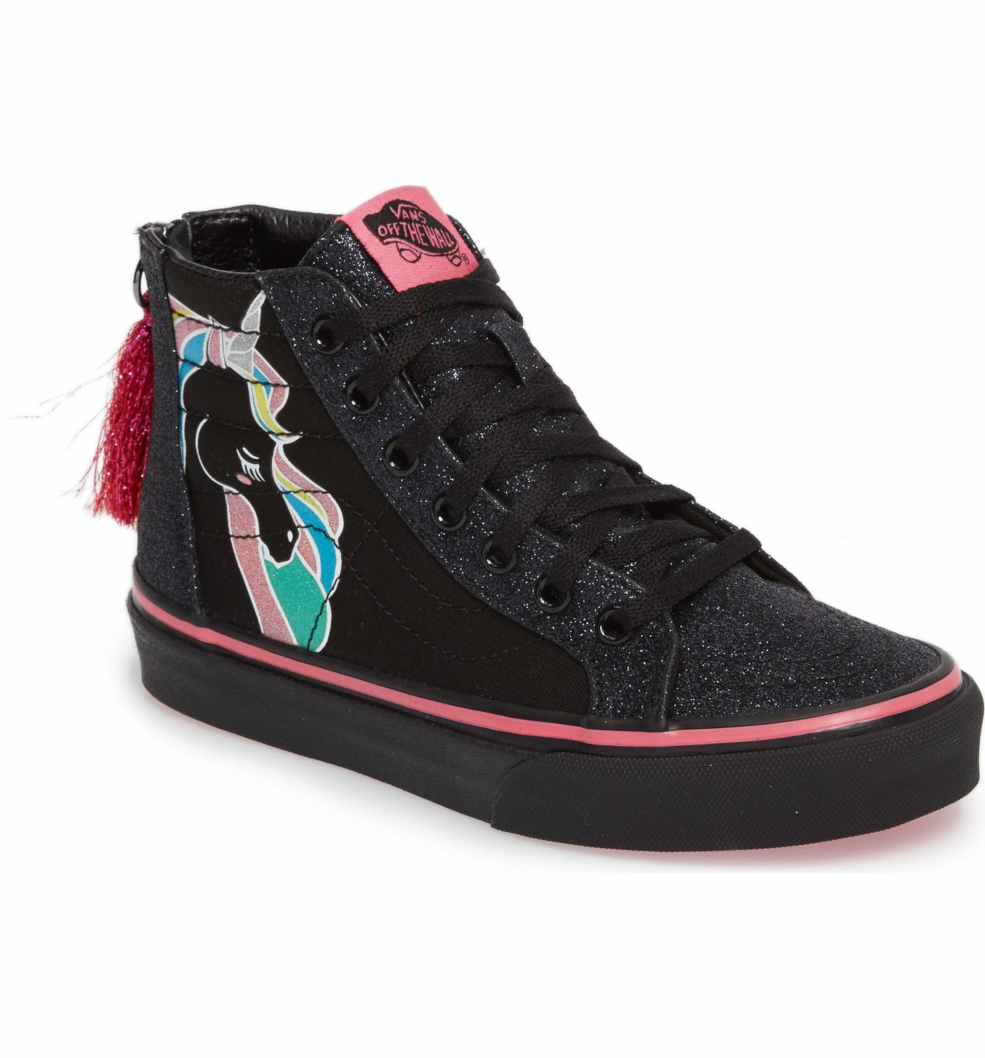 47900537a8 Main Image - Vans Sk8-Hi Zip Unicorn Glitter High Top Sneaker (Baby ...