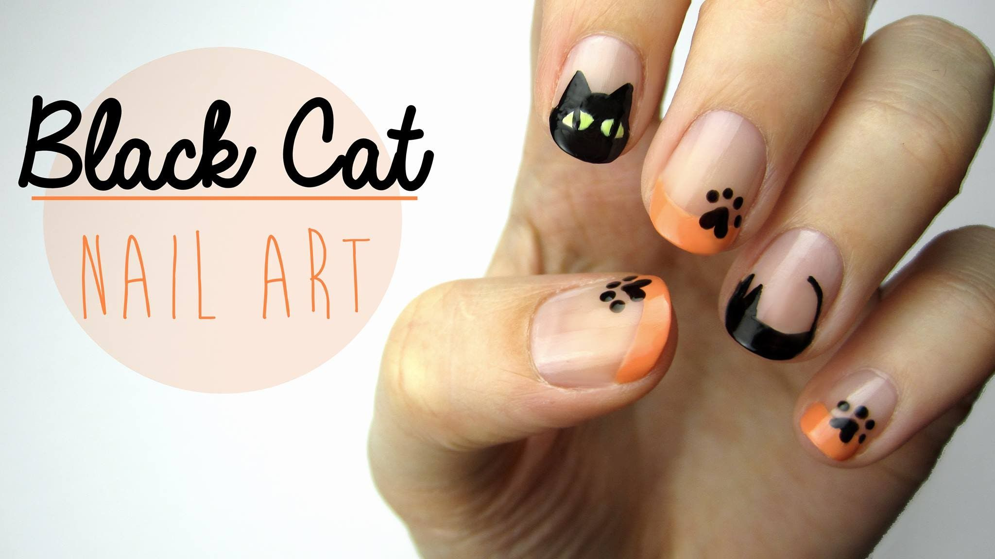 tutoriel vidéo nail art : chats noirs par cutepolish | chattes jusqu