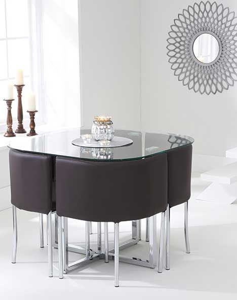 The Algarve Glass Stowaway Dining Table With Brown High Back