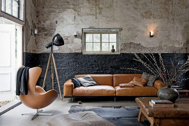 Woonkamer Vintage Bank : Inspiratie: lichtbruine leren bank in je woonkamer design home