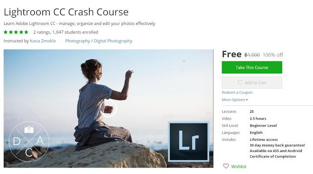 Coupon Udemy - Lightroom CC Crash Course (100% Off) - Course