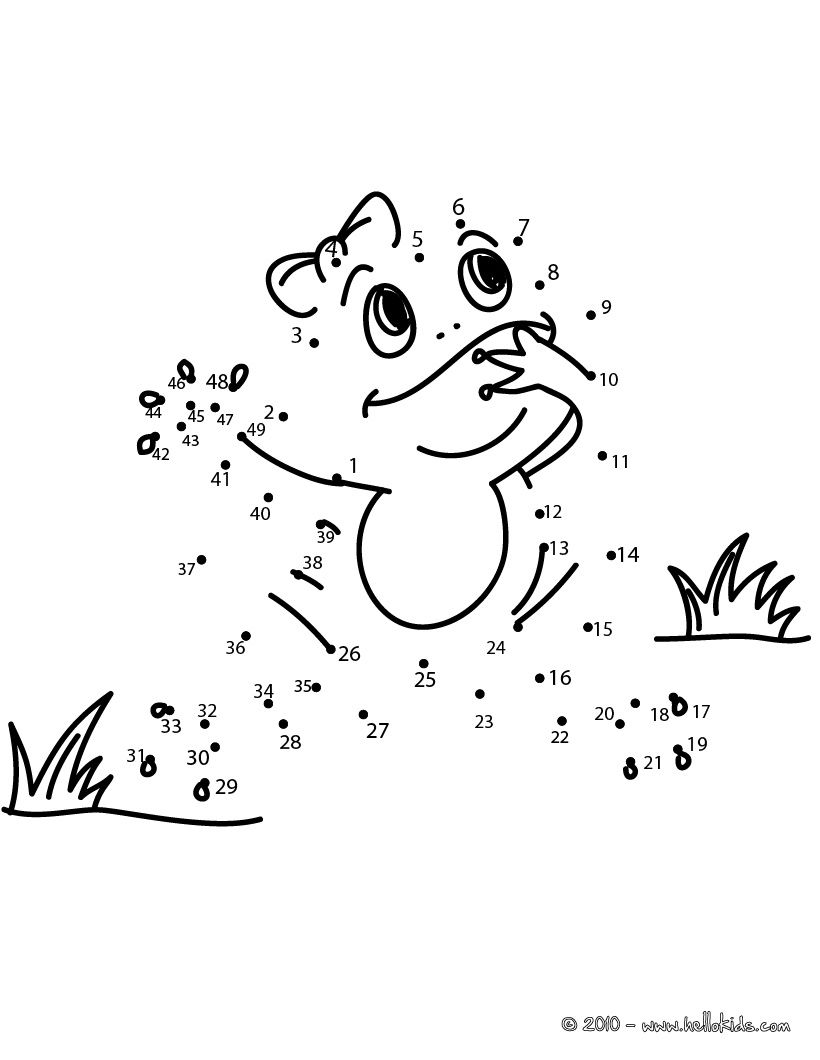 FROG dot to dot game printable