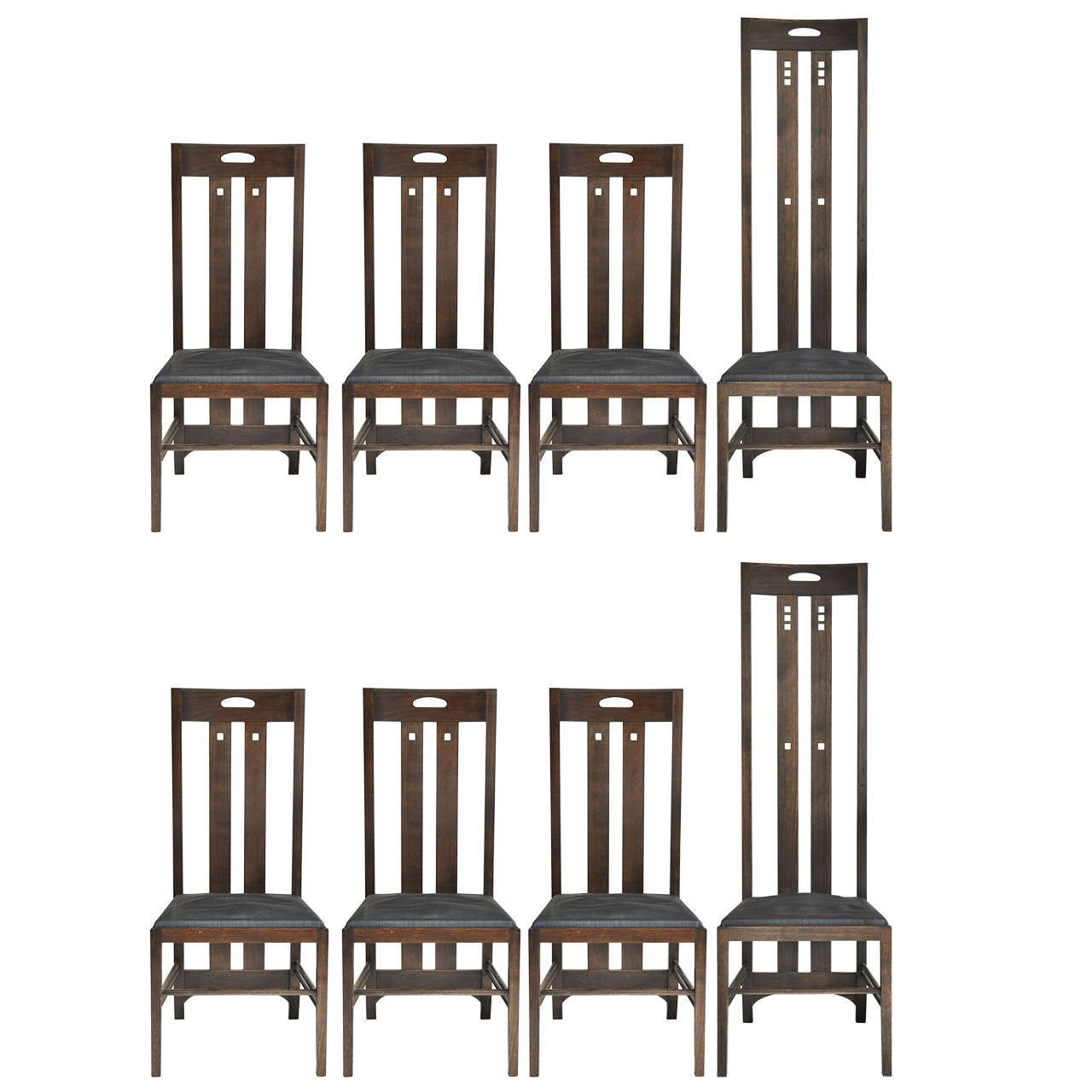 Set Of Eight Cassina By Charles Mackintosh Dining Chairs