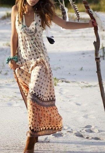 Hippie Style Summer Dress Boho Chic