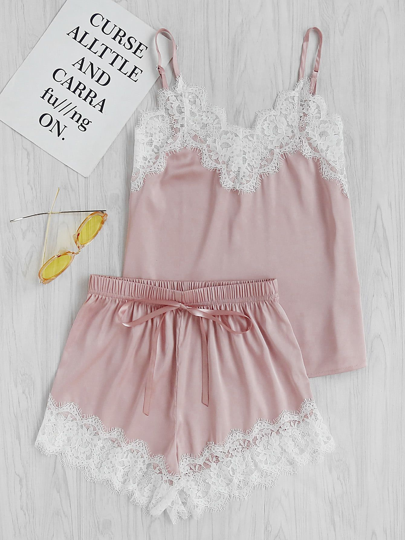 5c41541e72f Shop Lace Trim Satin Cami And Shorts Pajama Set online. SheIn offers Lace  Trim Satin Cami And Shorts Pajama Set   more to fit your fashionable needs.
