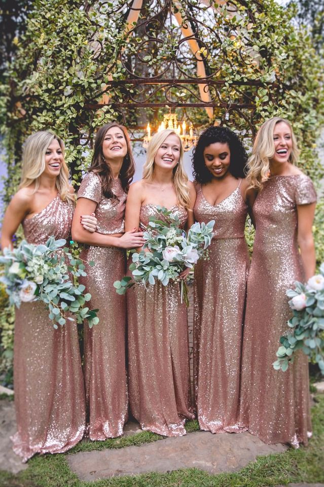 A Line Bridesmaid Dresses One Shoulder Rose Gold Sequined 2017