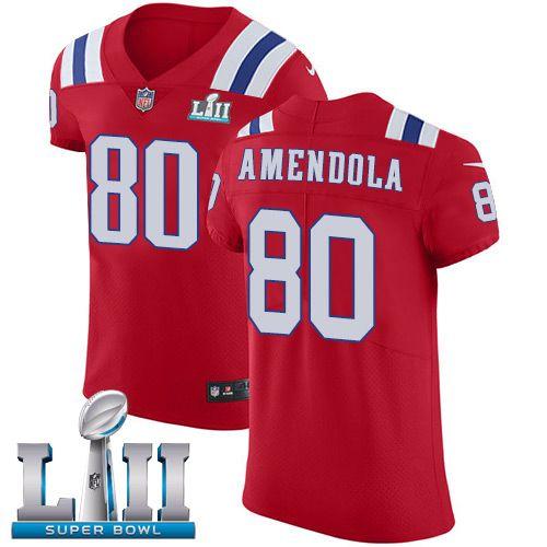 Men's Nike New England Patriots #80 Danny Amendola Red Alternate Super Bowl LII NFL Vapor Untouchable Elite Jersey