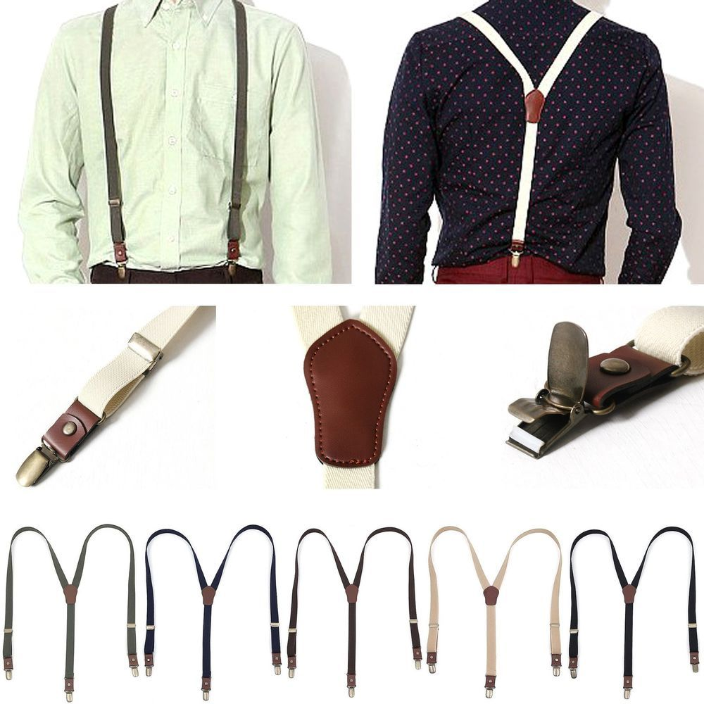 New Mens Women Elastic faux Leather Suspenders Fashion Adjustable Clip-On Braces #followthehappiness