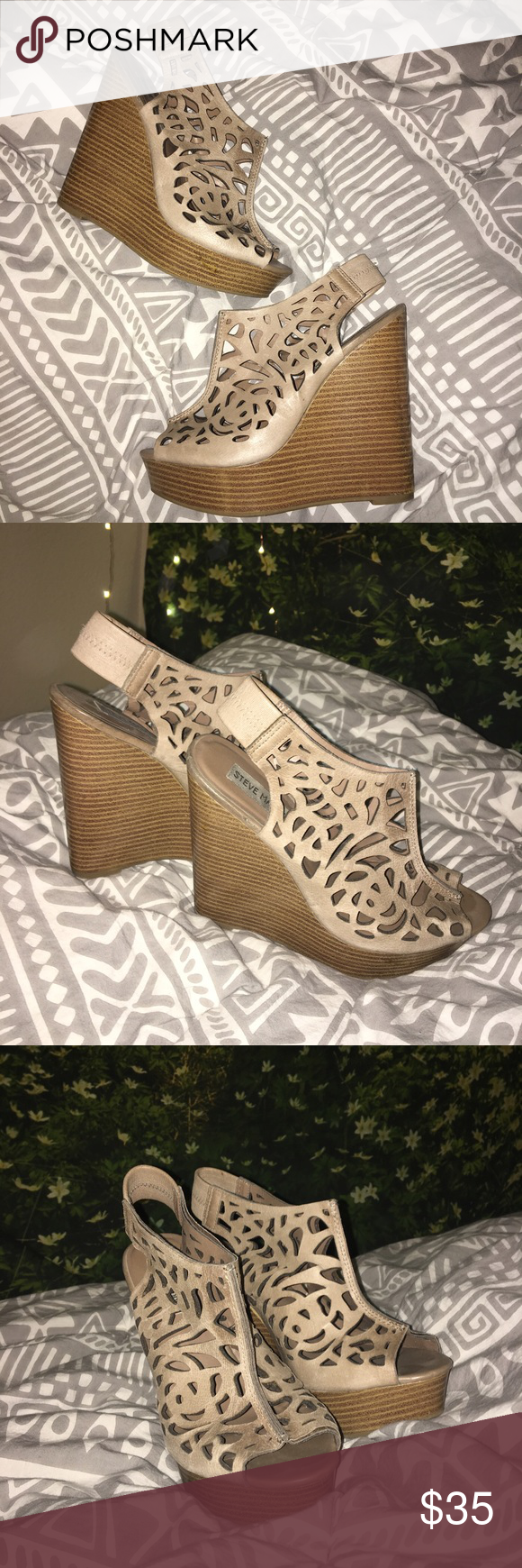 Steve Madden wedges Nude floral cutout wedges. Very good condition! Steve Madden Shoes Wedges