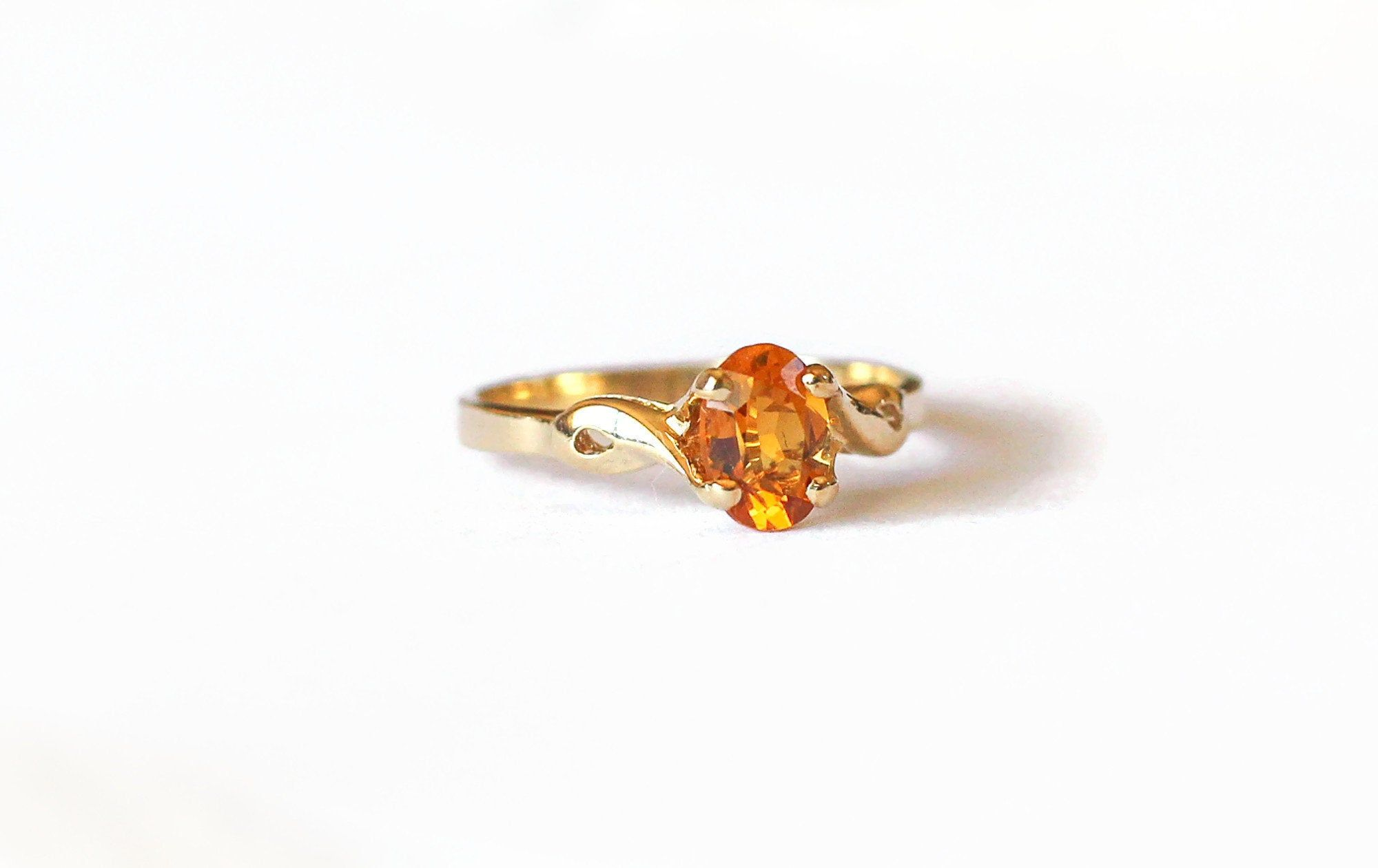 Vintage Gold Citrine Ring November Birthstone 10k Yellow Etsy Citrine Ring Ring Designs Vintage Gold