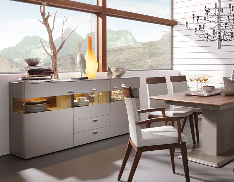 White Grey Or Taupe Matt Lacquer 3 Door Modern Felino Sideboard