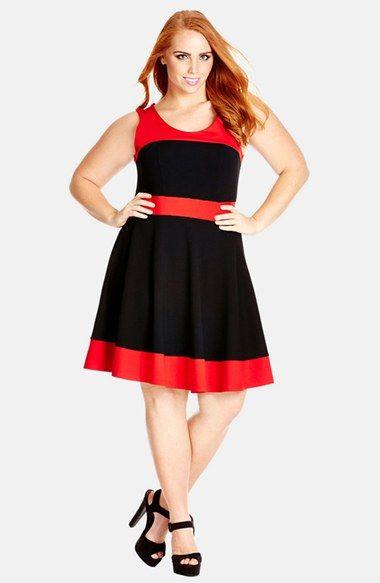 City Chic Colorblock Skater Dress (Plus Size | Dresses