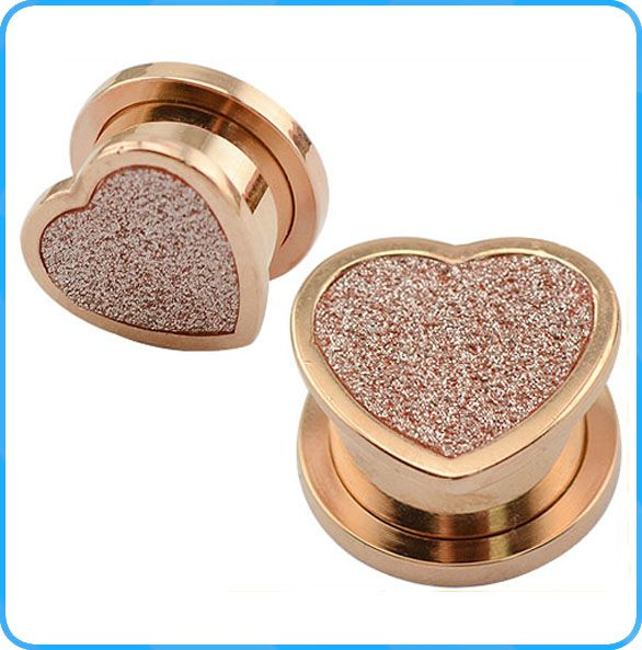 TP011078 Stainless Steel Wholesale Piercing Body Jewelry Fashion Rose Gold Ear Plug with Sand Paper