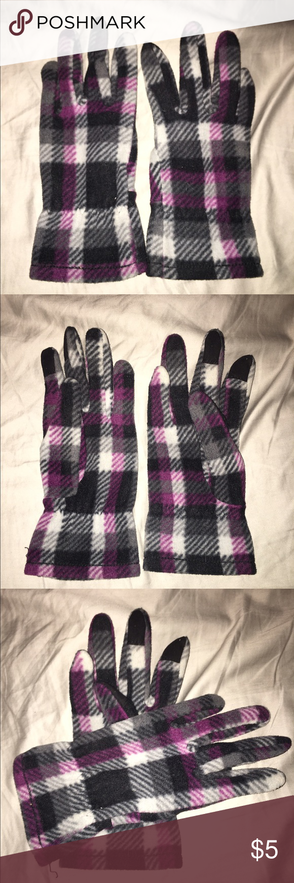 NWOT Tech Purple, Black, & White Plaid Gloves NWOT. Tech friendly gloves. In purple, black, and white plaid. Adorable but too small for my hands. Definitely better for someone with smaller hands! Accessories Gloves & Mittens
