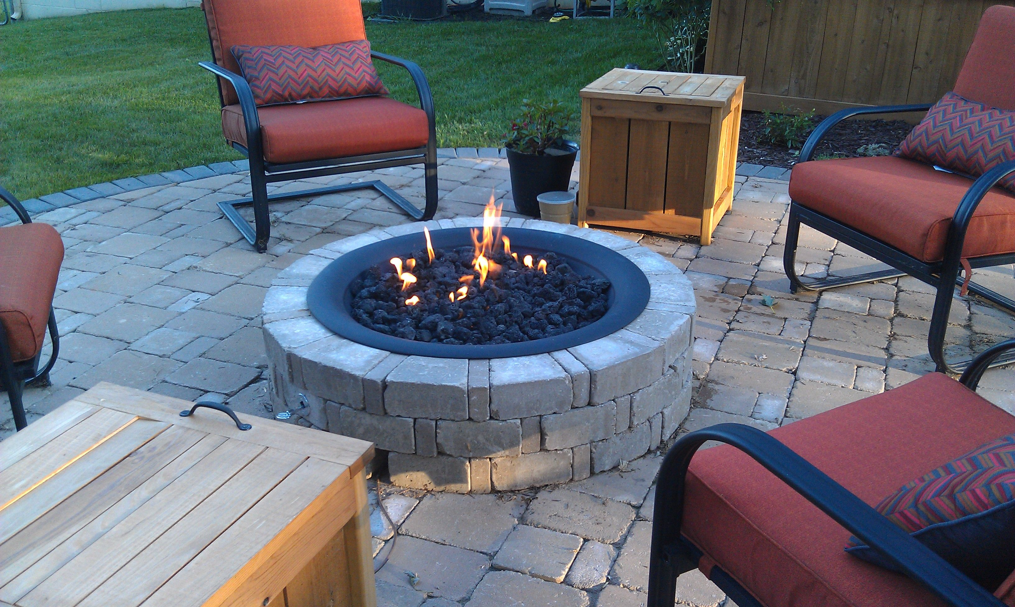 Diy Propane Gas Firepit 300 00 Bricks From Menards Firepit Bowl From Home Depot Propane Gas Fire Outdoor Fire Pit Fire Pit Decor Outdoor Fire Pit Designs