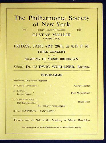 Scarce Gustav Mahler Concert Program New York Philharmonic