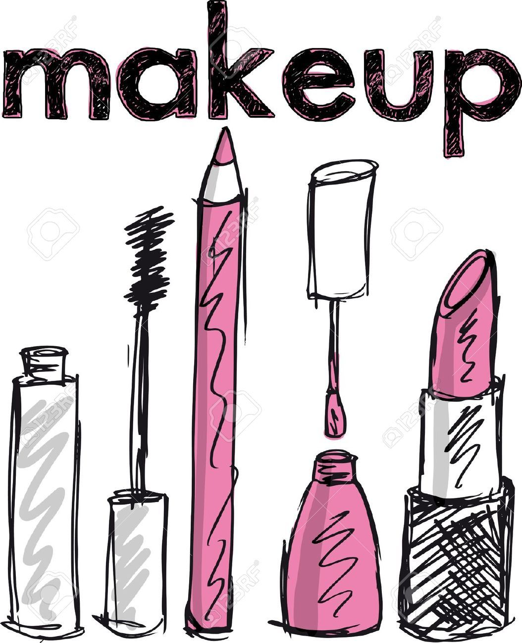 13214867 Sketch of Makeup products Vector illustration
