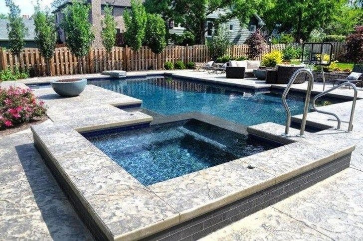 40 Inspiring Swimming Pool Design Ideas Best For Summer Time - HOOMDESIGN      A Mini Pool is quickly set up, often surprisingly cheap and the suitable, uncomplicated filter technology ensures unadulterated bathing fun. Because they take up little space for themselves, the Whirlpool or mini plunge pool even fit into small gardens, but you have to integrate them cleverly so that they fit harmoniously into the overall pict... #Design #HOOMDESIGN #Ideas #Inspiring #pool #Summer #swimming #time