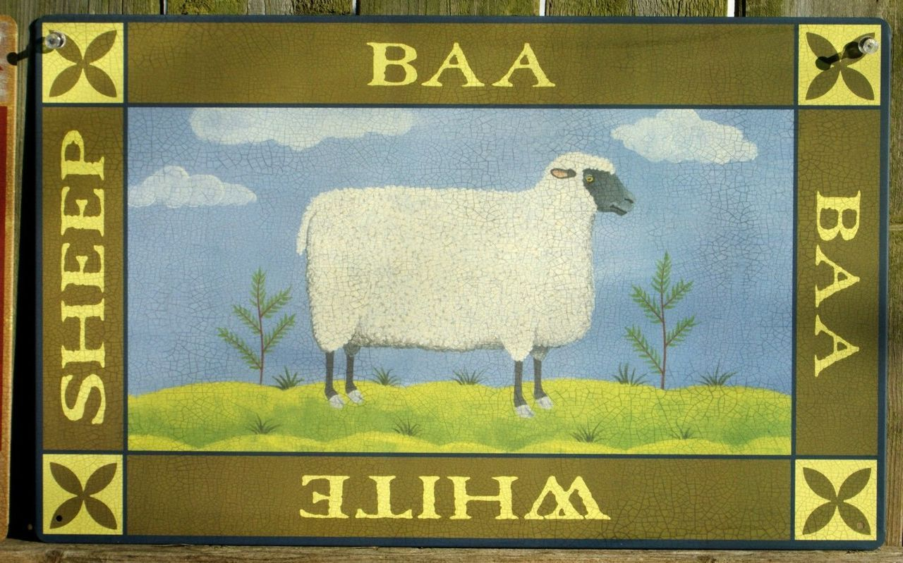 Pin White Sheep Tin Metal Sign Country Kitchen Home Farm Green Gift ...