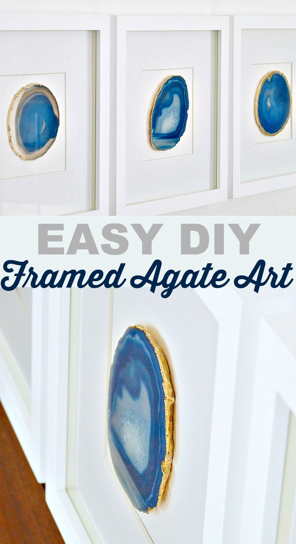 Diy Agate Art Framed Blue Agate Slices Diy Rahmen