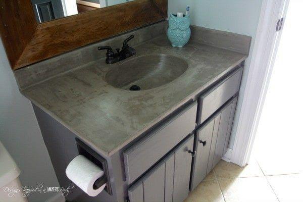 Concrete Counter Countertop Makeover Concrete Diy Diy Vanity
