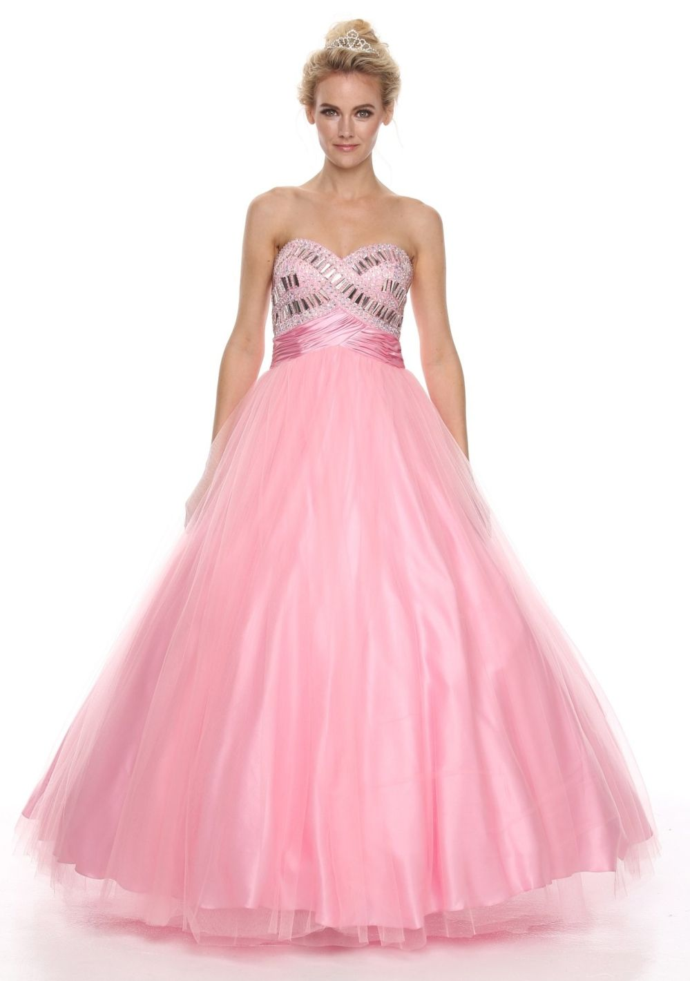 Sweetheart Neck Studded Bodice Light Pink Princess Gown $297.99 ...
