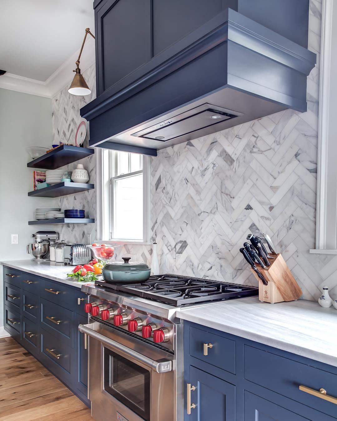 Hale Navy Cabinet Color Backsplash Laid Tile By Tile Too Big To Be On A Mesh Backing Navy Kitchen Cabinets Kitchen Design Cottage Kitchen Design