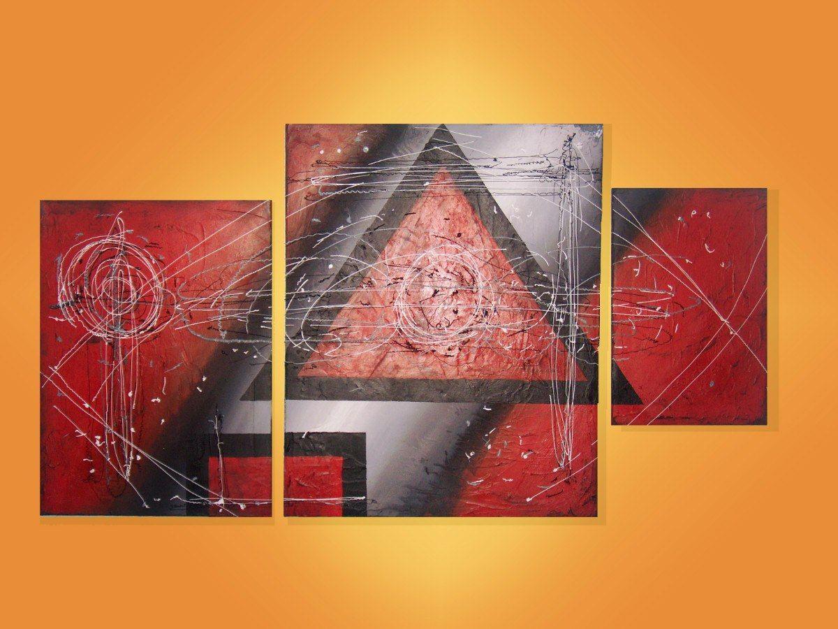 Cuadro triptico moderno abstracto con textura final - Cuadros con texturas abstractos ...