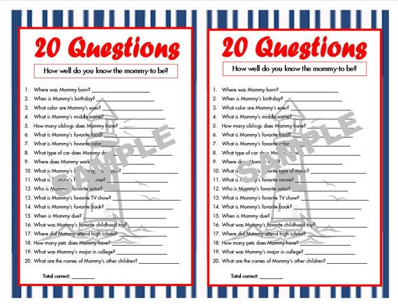 20 Questions Nautical Printable Party Game Nautical Baby Shower