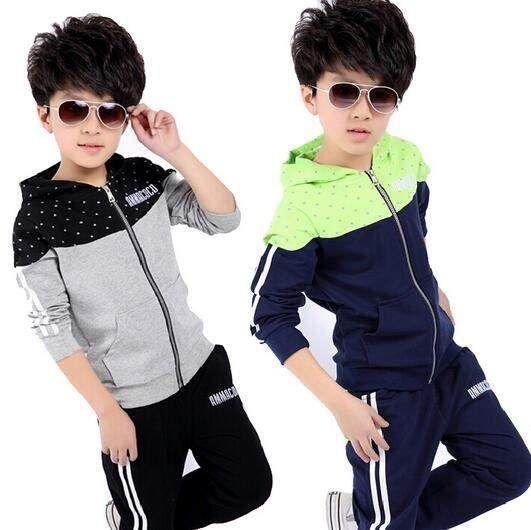 Nueva primavera otoño niños ropa conjuntos niños casual 2 unids chaquetas  sudaderas con capucha + Pantalones c4ee5ab468148