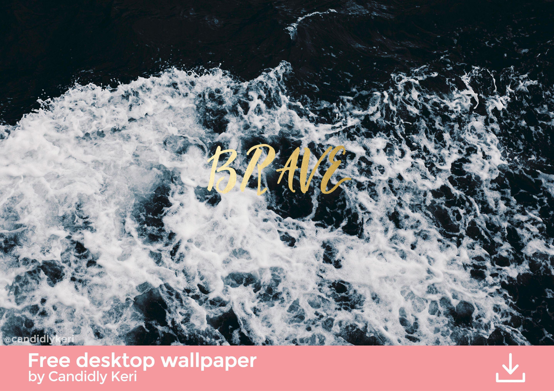 "360 Waves Wallpaper: ""Brave"" Gold Foil Waves Crash Ocean Icey Quote"