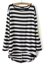 Black White Striped Long Sleeve Sequined T-Shirt