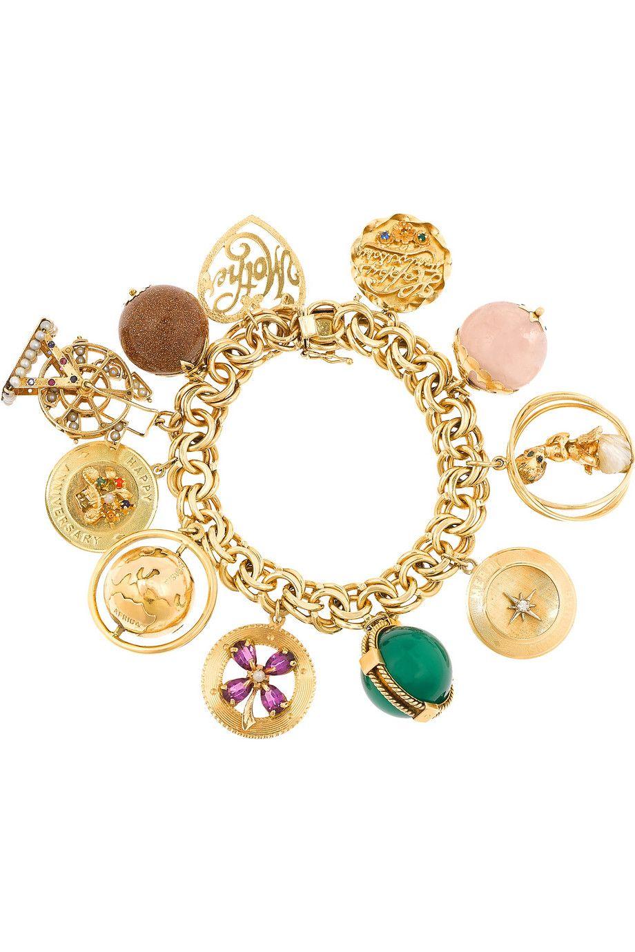 Fred Leighton  1940s 14karat Gold Multistone Charm Bracelet