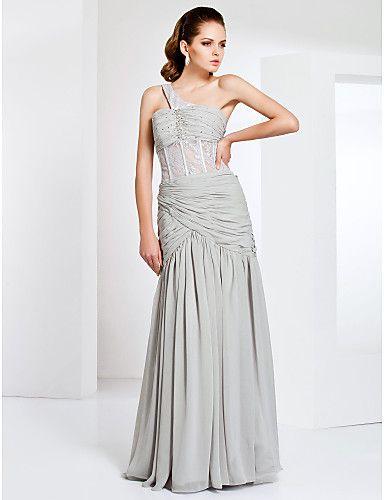 One Shoulder Sheath/Column Floor-length Chiffon And Lace Evening Dress