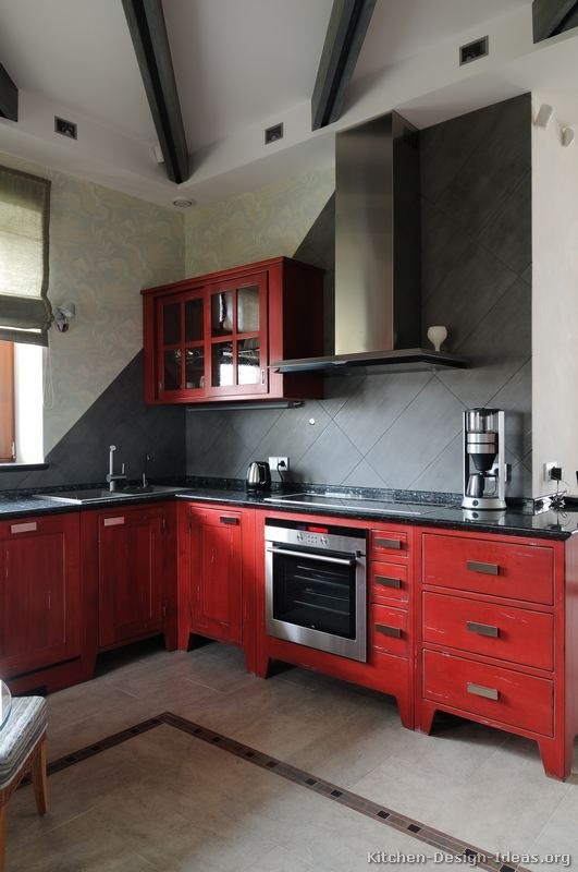 Kitchen Cabinets Ideas Red Distressed Photos
