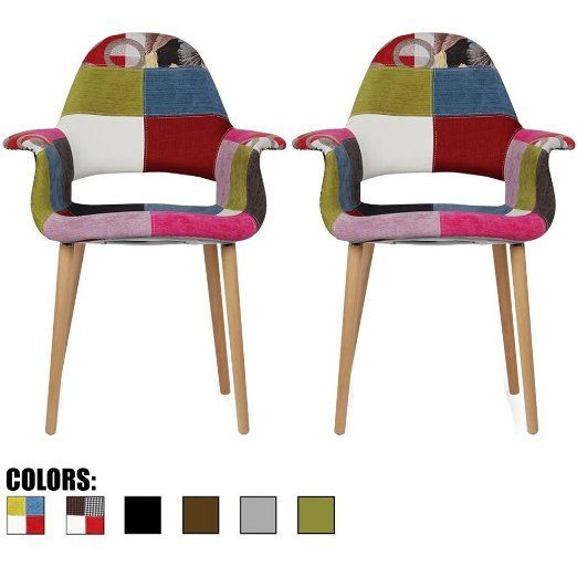 2xhome - Set of Two (2) - Multi-color - Upholstered Organic Arm Chair Armchair…