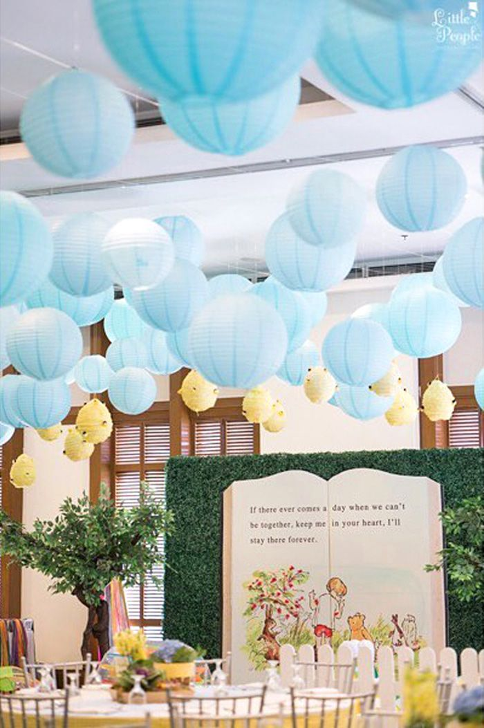 Storybook backdrop + guest table from a Winnie the Pooh Birthday Party on  Kara's Party Ideas