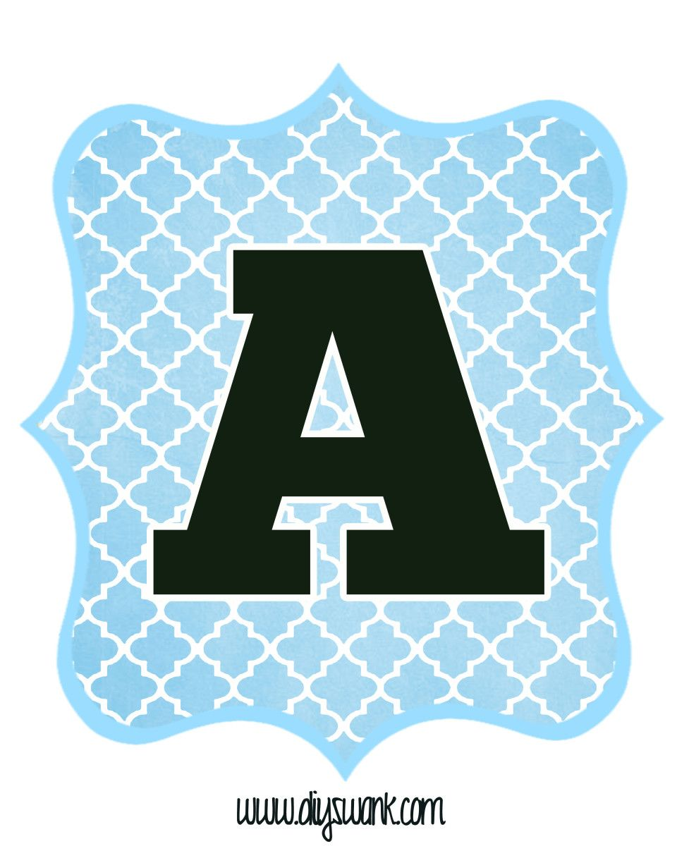 picture relating to Printable Alphabet Banner called Blue and Black Printable Letters for Banners Free of charge