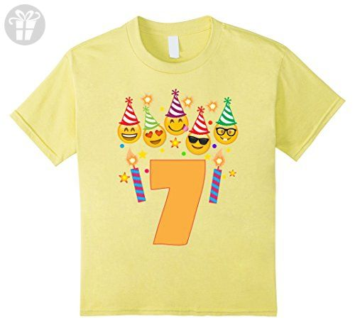 Kids Emoji Birthday Shirt For 7 Seven Year Old Girl Boy Toddler 6 Lemon