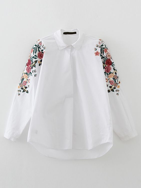 White flower embroidery high low blouse latest street fashion buy white flower embroidery high low blouse from abaday free shipping worldwide mightylinksfo