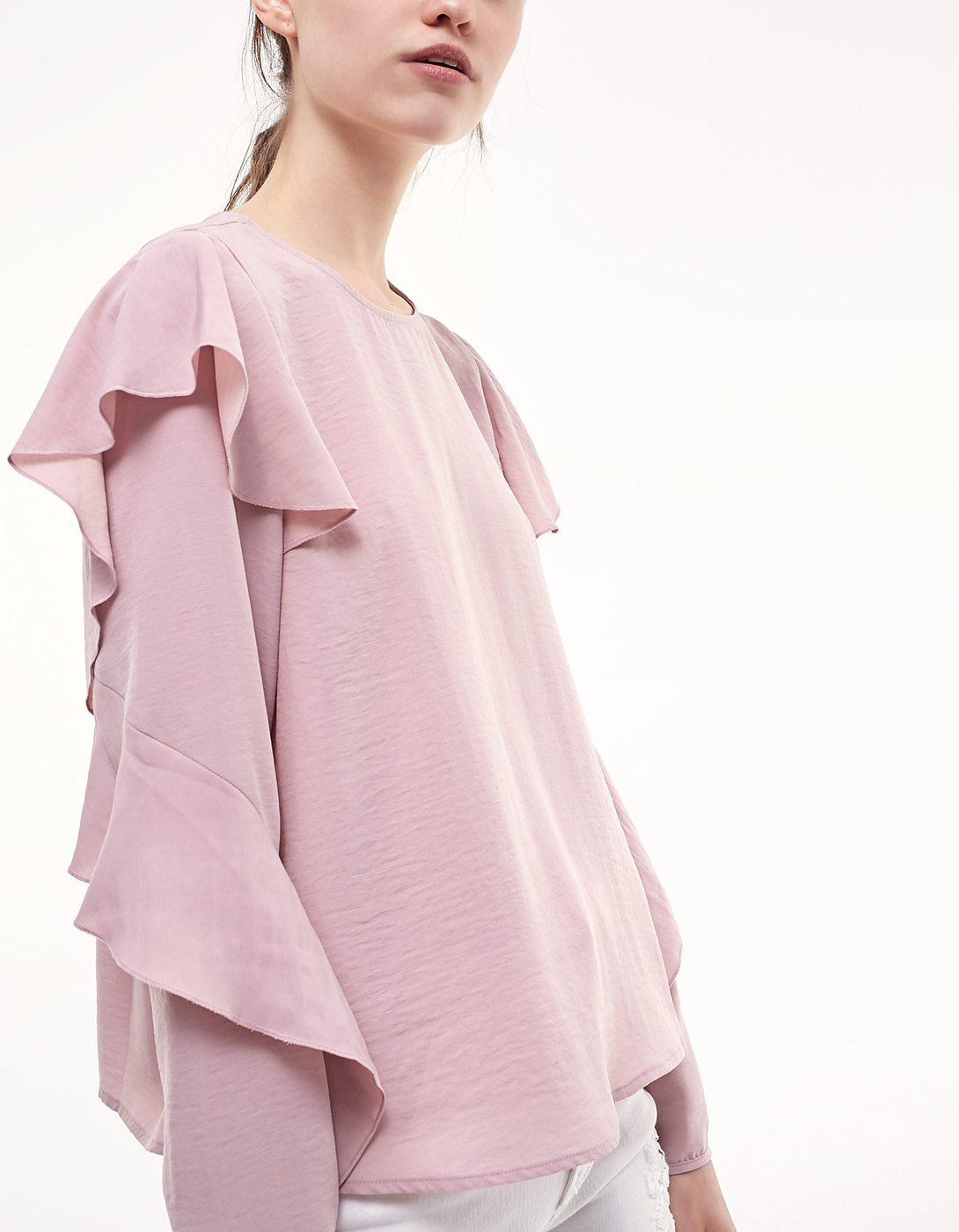 Shirt with shoulder frill detail Clothing | Stradivarius