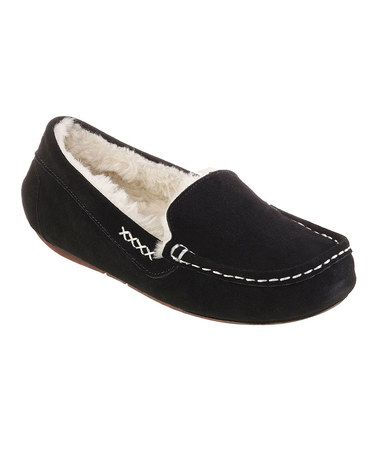 Love this Black Plush Cozy Suede Slipper by BOBS from Skechers on #zulily! #zulilyfinds