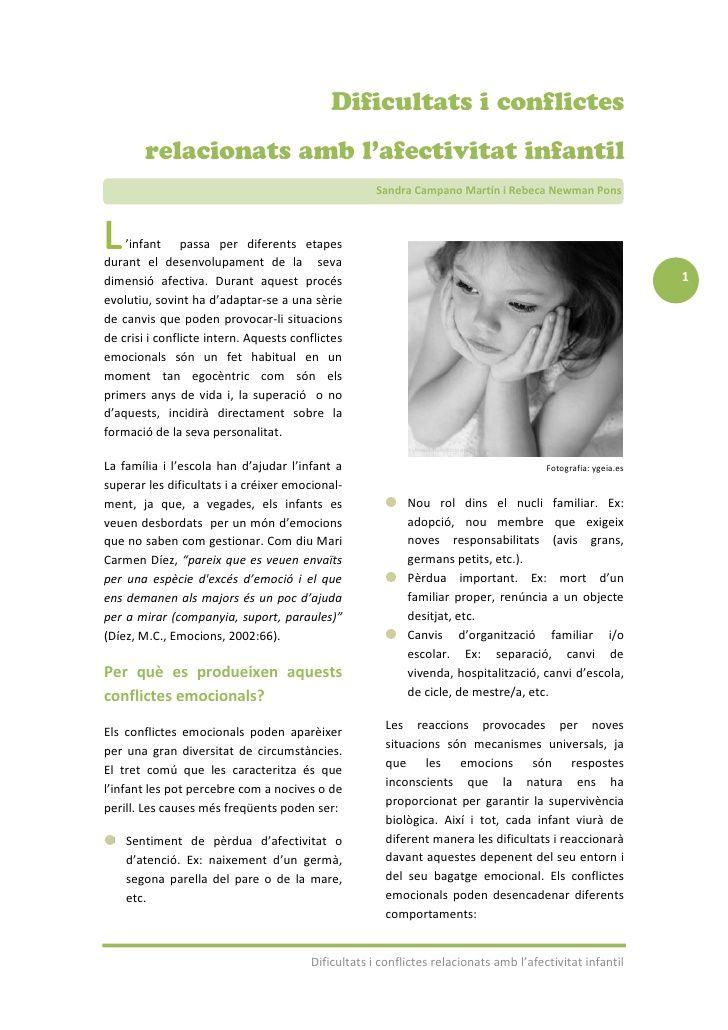 Article: Dificultats i conflictes relacionats amb l'afectivitat infantil by edemocional via slideshare