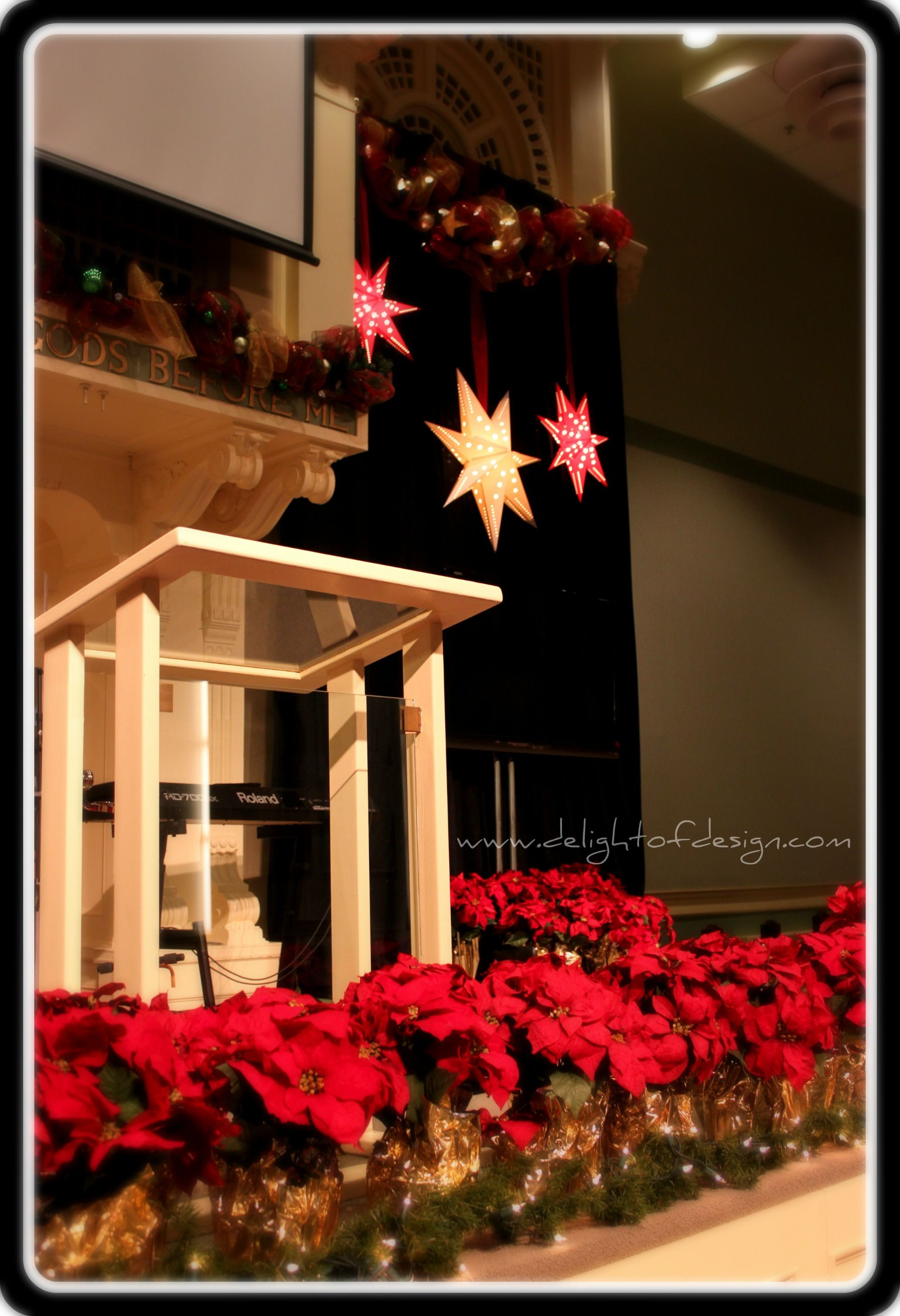 Church stage design for christmas decorating for for Christmas church decoration ideas