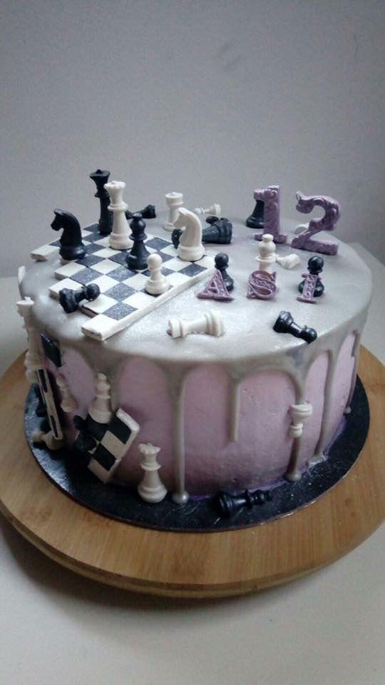 Chess Birthday Cake Purple And Grey Cute Cakes Pinterest
