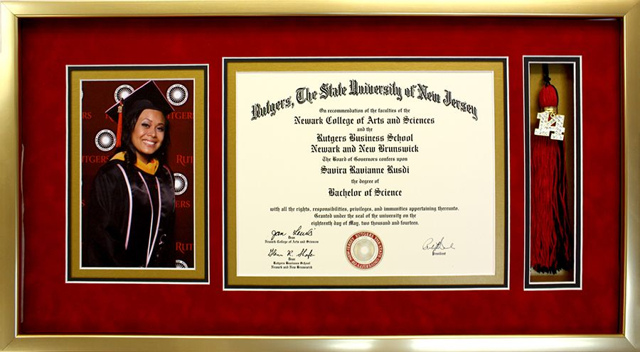 diploma collage with graduation photo and tassel displayed in a