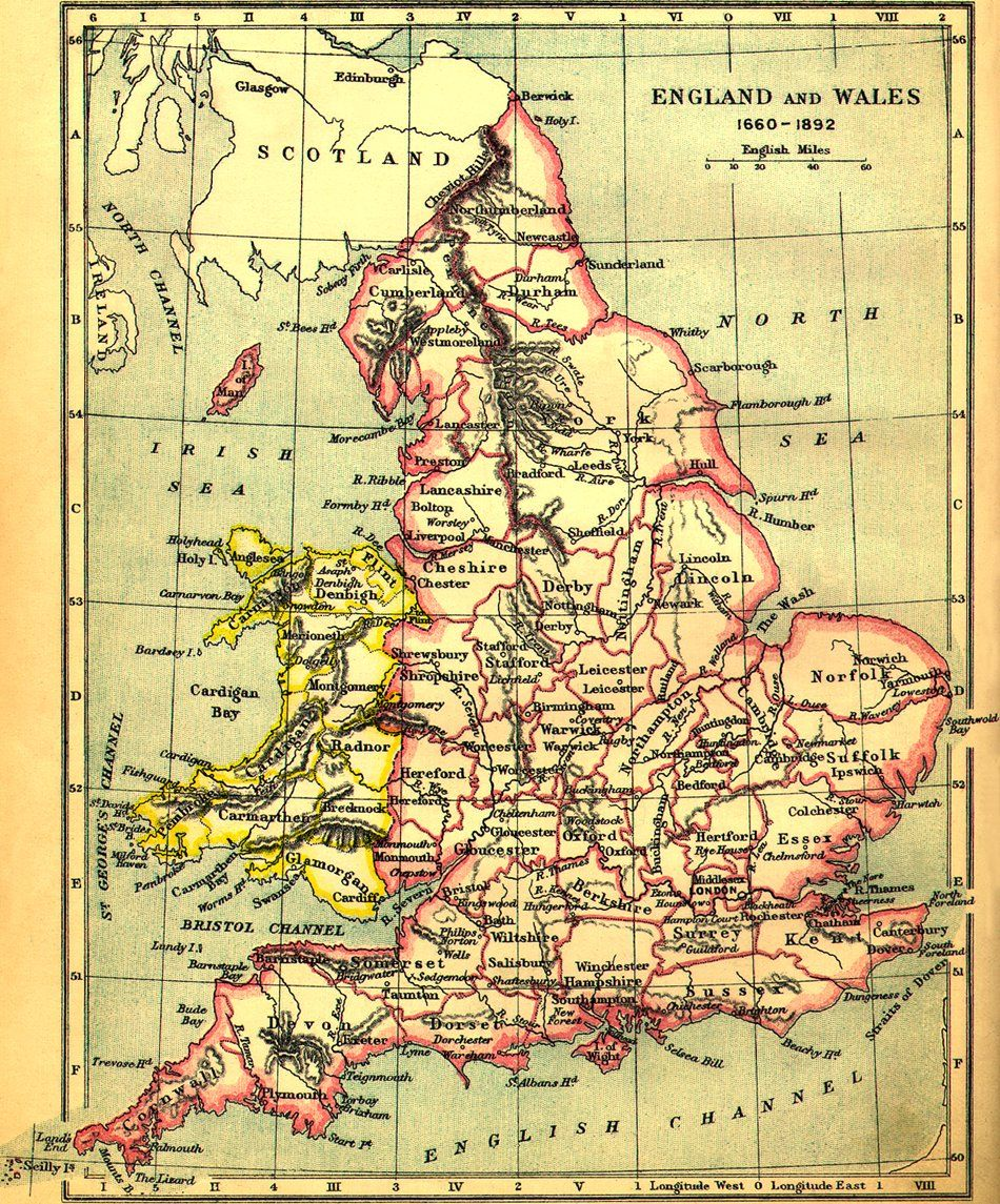 Map From 1660 1892 Showing The Counties Of England Compare This With The Other Map I Ve Posted To Pinterest Which Is More Up T England Map Map Of Britain Map