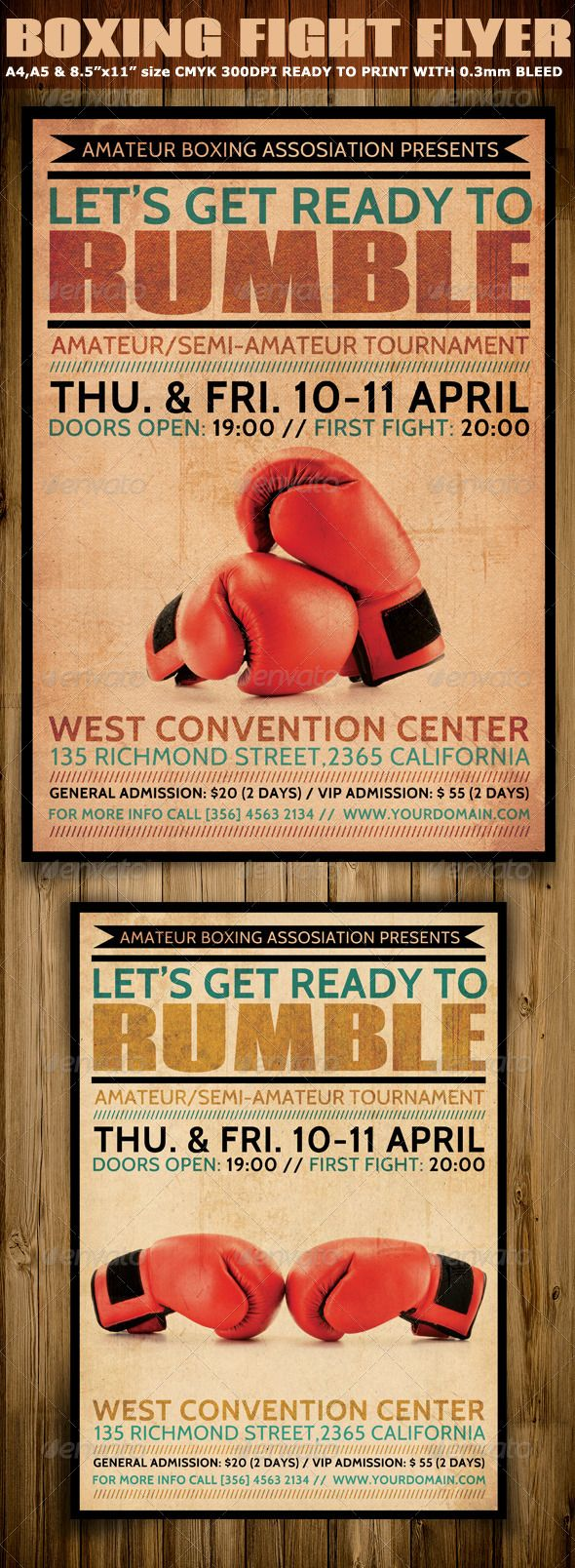 boxing flyer template is typographic promotional psd flyer that will