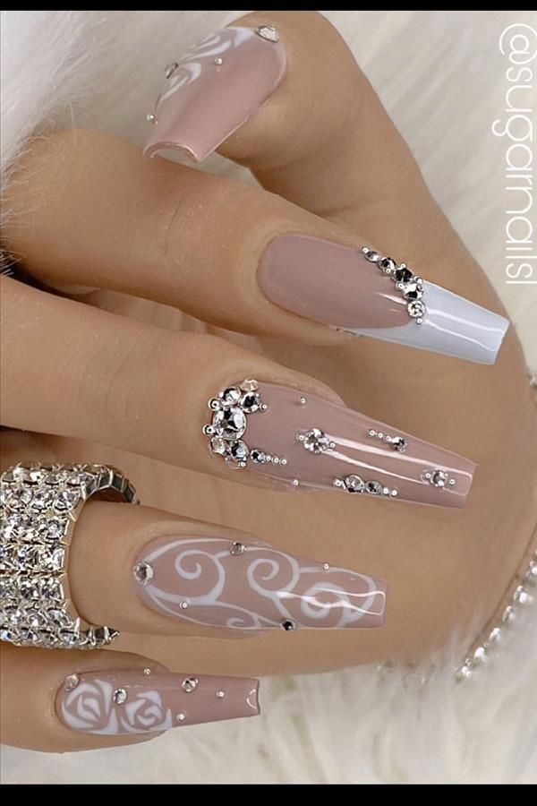 Natural acrylic rhinestone coffin nails design you